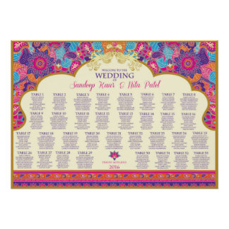 Asian - Wedding - Henna - Table Seating Plan Poster