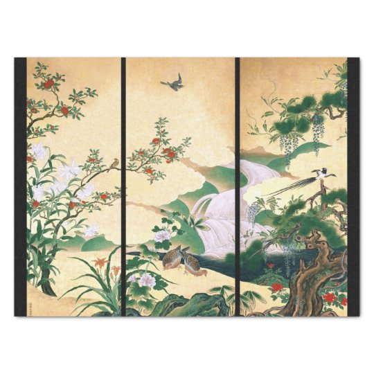 Asian Wisteria Floral Doves Waterfall Tissue Paper