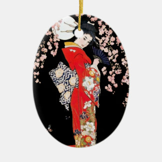 Asian Woman with Cherry Blossom Night Christmas Ornament