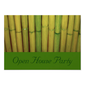 Asian Zen Green Bamboo Botanical Open House Party 13 Cm X 18 Cm Invitation Card