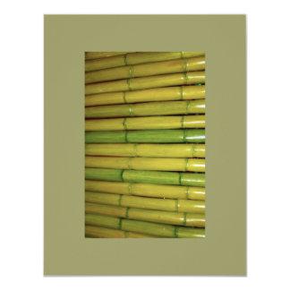 Asian Zen Green Bamboo Stalks Botanical Photo 11 Cm X 14 Cm Invitation Card