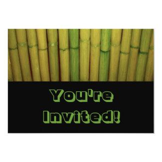 Asian Zen Green Bamboo Stalks Botanical Theme 13 Cm X 18 Cm Invitation Card