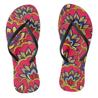 Asiatic red vibrant floral pattern flip flops