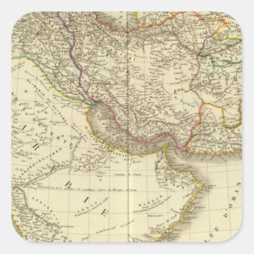 Asiatic Turkey, Persia, Arabia, Kabul Square Stickers