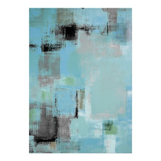 'Aside' Blue and Grey Abstract Art Poster Print