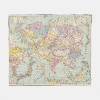 Asien u Europa - Atlas Map of Asia and Europe Fleece Blanket