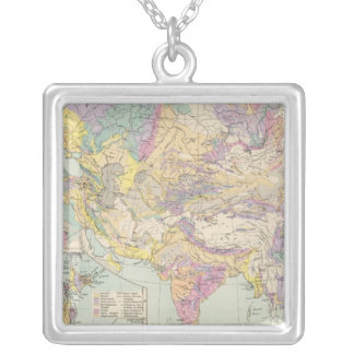 Asien u Europa - Atlas Map of Asia and Europe Silver Plated Necklace