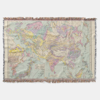 Asien u Europa - Atlas Map of Asia and Europe Throw Blanket