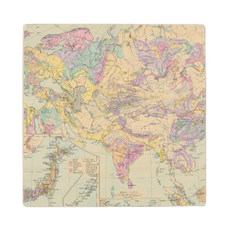 Asien u Europa - Atlas Map of Asia and Europe Wood Coaster
