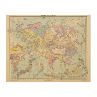 Asien u Europa - Atlas Map of Asia and Europe Wood Wall Art