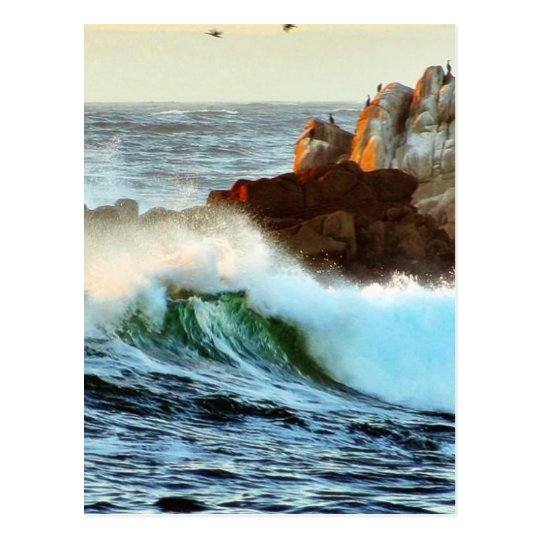 Asilomar Beaches Waves Ocean Dusk Postcard