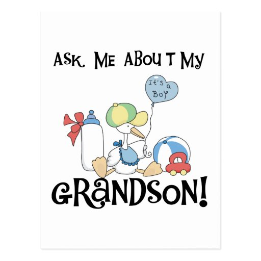 Ask About My Grandson Tshirts and Gifts Post Cards