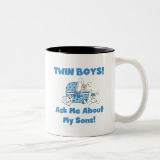 Ask About My Twin Sons Tshirts and Gifts Two-Tone Coffee Mug