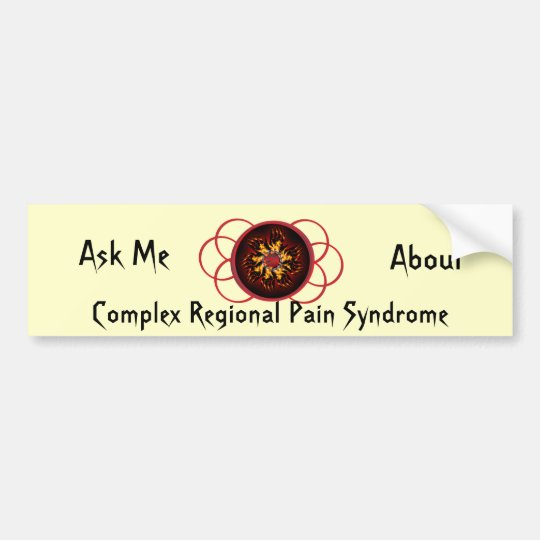Ask Me About CRPS Red & Black Star Burst Scroll Bumper Sticker