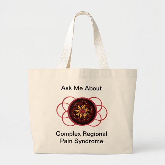 Ask Me About CRPS Red & Black Star Burst Scroll Large Tote Bag