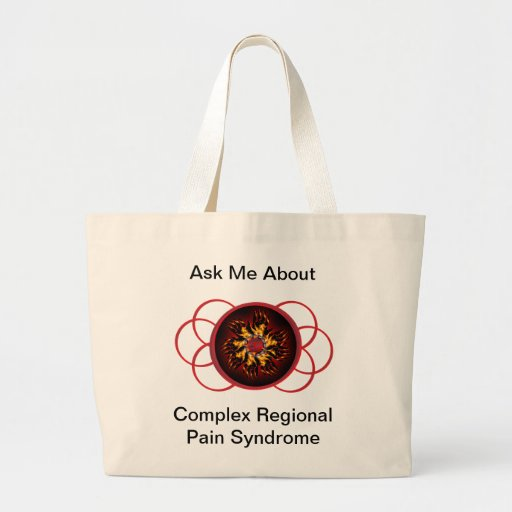 Ask Me About CRPS Red & Black Star Burst Scroll Jumbo Tote Bag