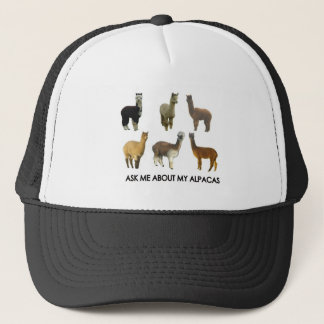Ask me about my alpacas trucker hat