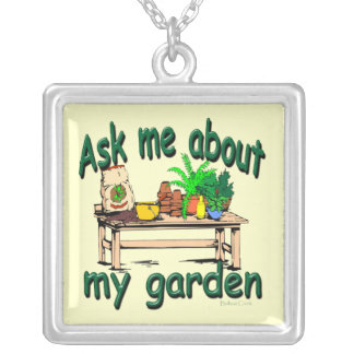Ask Me About My Garden Silver Plated Necklace