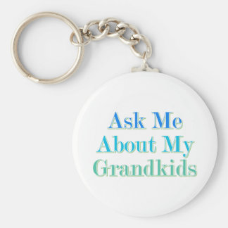 Ask Me About My Grandkids Basic Round Button Key Ring