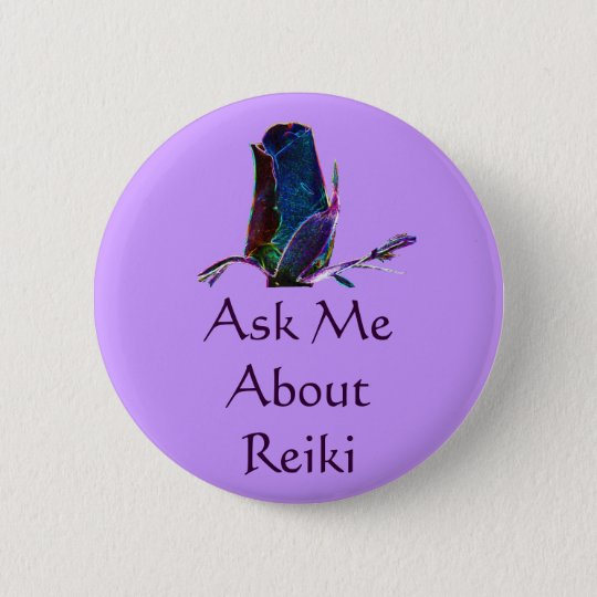 Ask Me About Reiki Button Pin
