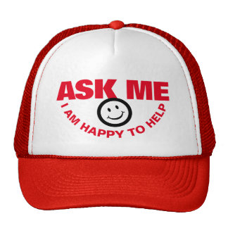 Ask me I happy to help customer service hat