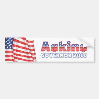 Askins Patriotic American Flag 2010 Elections Car Bumper Sticker