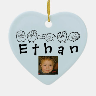 ASL American Sign Language Fingerspelled Ethan Christmas Ornament