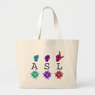 ASL and ILY FLOWERS Large Tote Bag