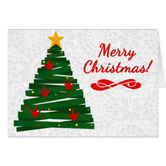 ASL Christmas Tree Card w/ ILY Handshape Ornaments