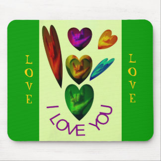 ASL Hearts Speak I Love You Mouse Pads
