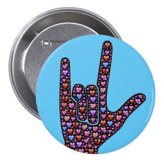 "ASL ""I love you"" 7.5 Cm Round Badge"