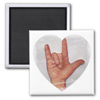 """ASL """"I LOVE YOU"""" HEART SHAPE #2 MAGNET"""