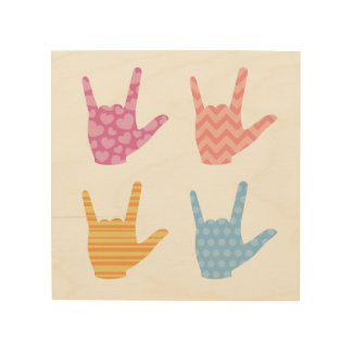 """ASL """"I Love You"""" in Sign Language Colors Patterns Wood Canvases"""