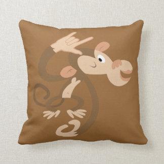 ASL I Love You Monkey Throw Pillow
