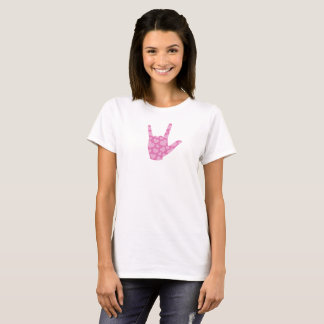 "ASL ""I Love You"" Pink Hearts Women's T-Shirt"
