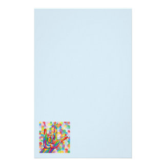 ASL I Love You with Bubble Background Stationery