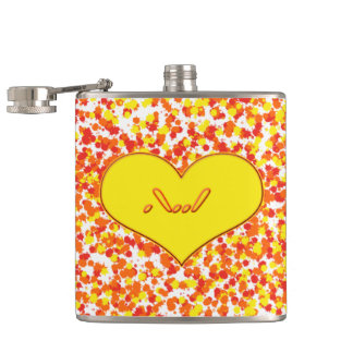 ASL-I Love You With Heart by Shirley Taylor Hip Flask