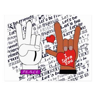 ASL Peace Love Let's Be Friends Postcard