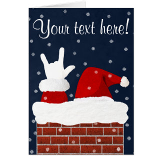 ASL Santa w/ I Love You Handshape Christmas Card