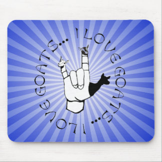 ASL SIGN I LOVE GOATS MOUSE PAD