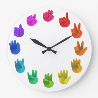ASL Sign language rainbow color wheel light Wallclocks