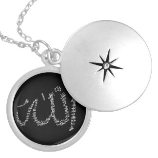 Asma Ul Husna Silver plated necklace. Round Locket Necklace
