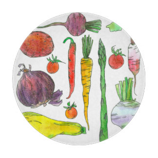Asparagus Beets Carrots Watercolor Root Vegetables Cutting Boards