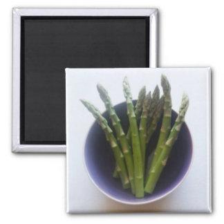Asparagus in a ceramic bowl picture magnet. magnet