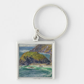 Asparagus Island Silver-Colored Square Key Ring