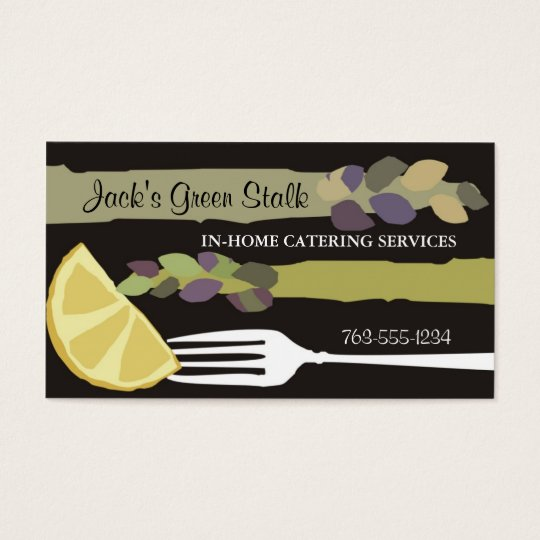 Asparagus lemon fork chef catering business cards
