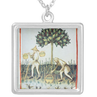 Asparagus Pickers, 13th century Silver Plated Necklace