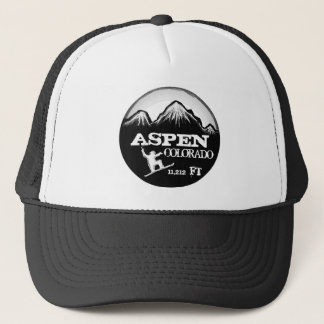 Aspen Colorado black white snowboard art hat