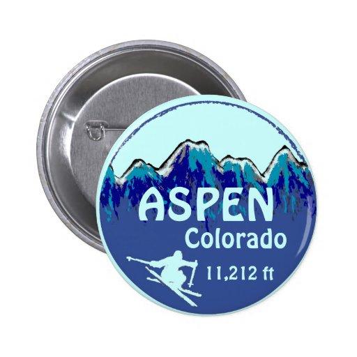 Aspen Colorado blue ski art button