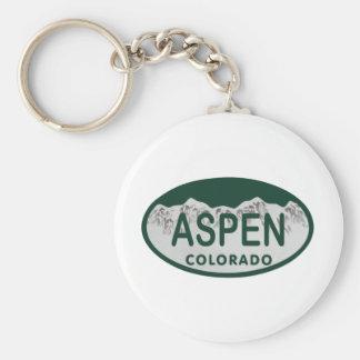 Aspen Colorado license plate Basic Round Button Key Ring